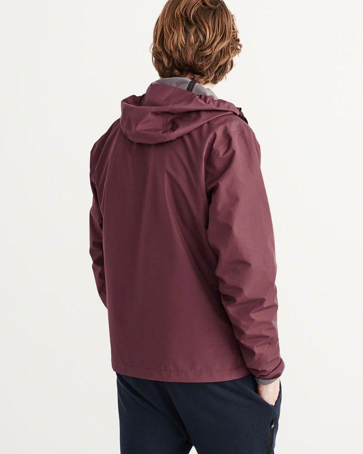 A&F Men's Waterproof Rain Jacket in Burgundy - Size XL