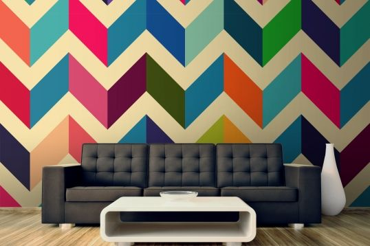 Multicoloured Zig Zag Pattern Wallpaper Wall Mural | MuralsWallpaper.co.uk