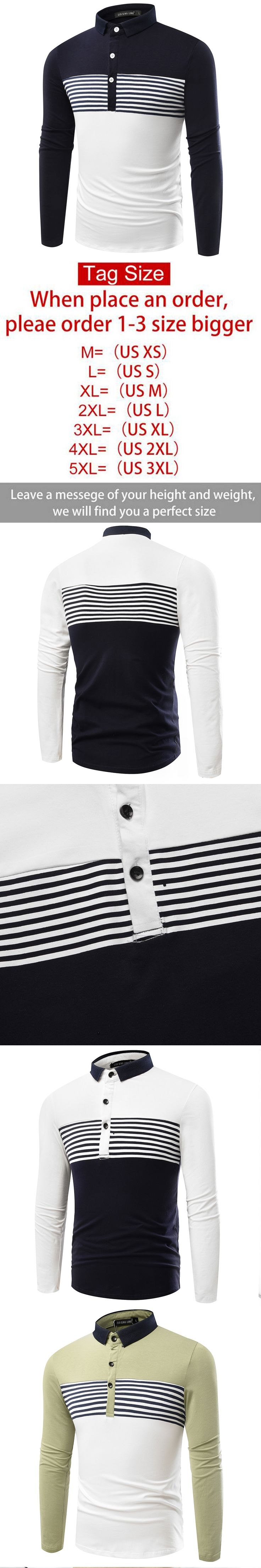 2016 new autumn long sleeve striped polo shirt brand good quality slim fit casual men polo shirt stand collar
