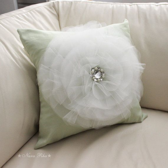 White And Mint Pillow Cover Bow Pillow Decorative Pillows Mint