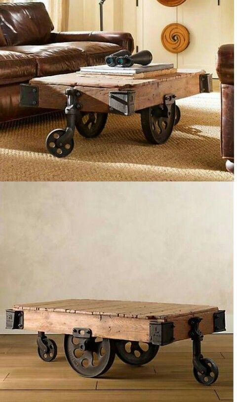 Mesa ruedas vagoneta muebles pallets recycled - Mesa palets ruedas ...