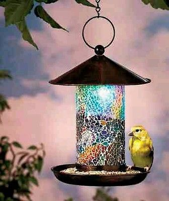 Bird Feeder Mosaic Stain Glass Solar Glow In The Dark Food
