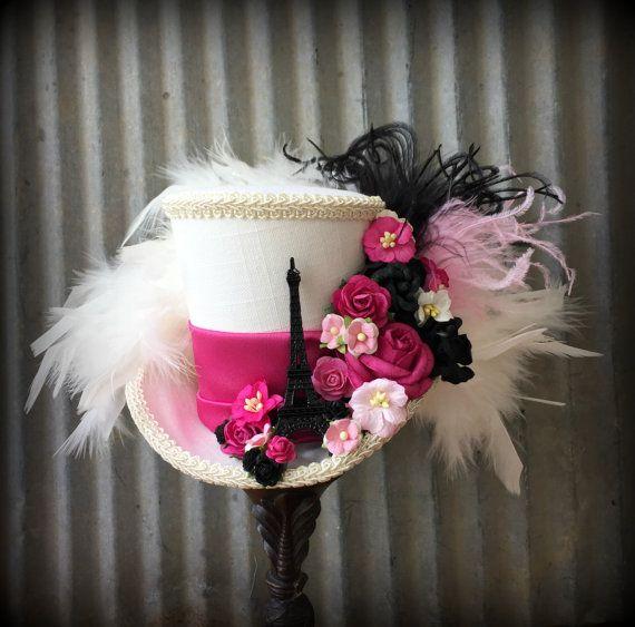Mini chapeau haut de forme, Paris Mini chapeau, chapeau de tour Eiffel, Alice en chapeau au pays des merveilles, Mad Tea Party…