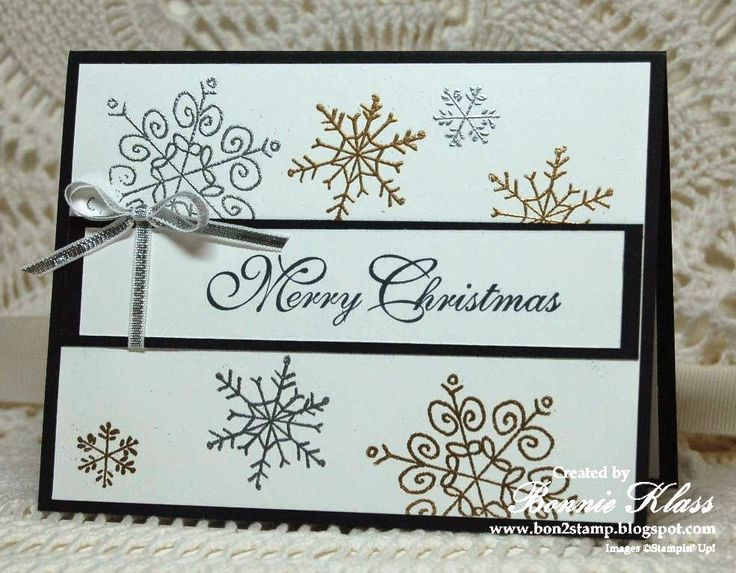 """Stampin' Up! ... handmade Christmas card from Stamping with Klass ... delicate snowflakes from Endless Wishes embossed in gold and silver ... """"Merry Christmas"""" sentiment in in elegant calligraphy .... like it!"""