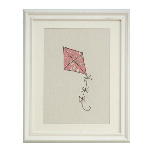 Add a pretty #pink floral Liberty print to your wall. This pink floral kite textile picture is #hand embroidered and makes a gorgeous #gift for a new baby or birthday or christening gift.