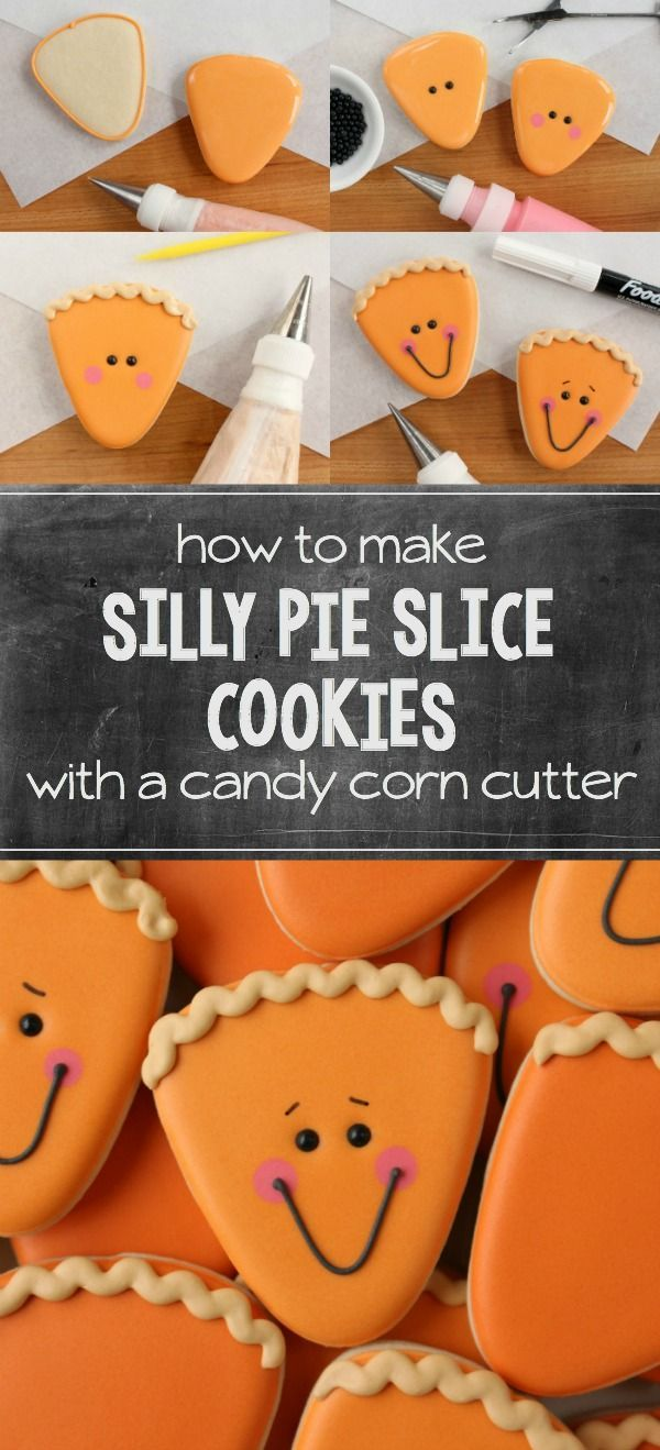 Use a simple candy corn cutter to make silly pie slice cookies for Thanksgiving! Instructions at Sweetsugarbelle.com