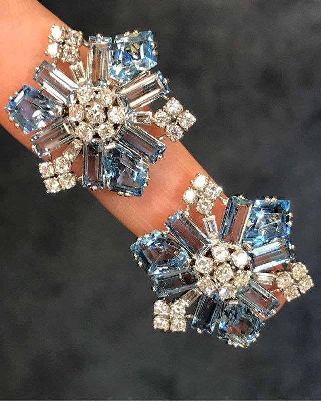 a62214fd66fb8 Large size #diamond and #aquamarine #snowflake #earrings made by ...
