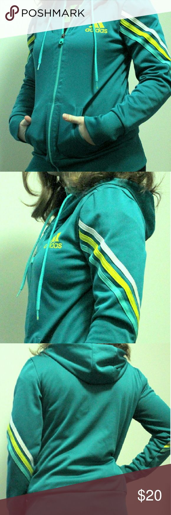 Green Zip Up  Athletic Hoodie Athletic zip up  Great condition  Lightweight but very warm Adidas Tops Sweatshirts & Hoodies