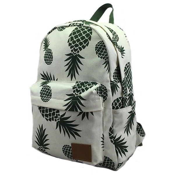 FL Women's Canvas Lightweight Pineapple Backpack Travel Bag School Bag... (£16) ❤ liked on Polyvore featuring bags, backpacks, knapsack bag, lightweight backpack, light weight backpack, lightweight rucksack and pineapple print backpack