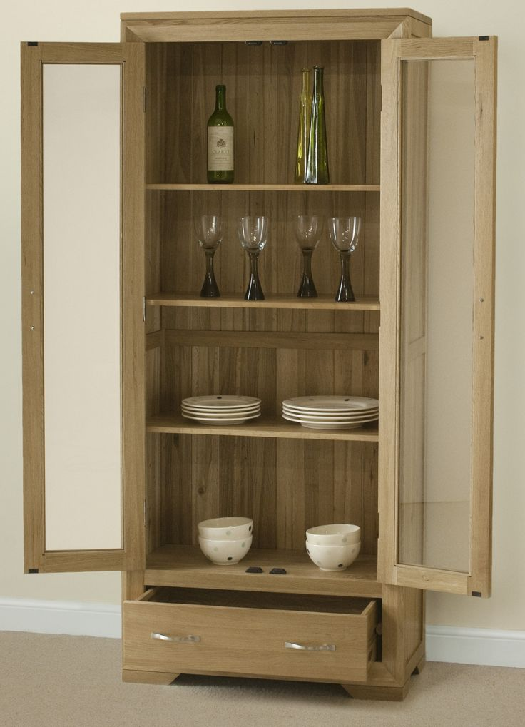 Bevel Solid Light Oak Range - Display Cabinet Oak Furniture Land - www.oakfurnitureland.co.uk