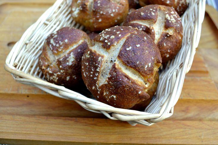 Homemade whole wheat pretzel rolls