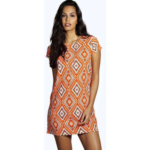 Boohoo Petite Petite Nina Aztec Shift Dress (1,225 PHP) ❤ liked on Polyvore featuring dresses, orange, petite shift dress, aztec dress, orange dress, petite dresses and boohoo dresses