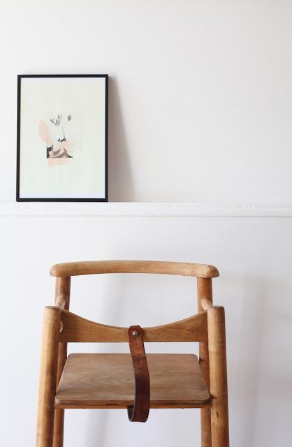 wood highchair with leather leg strap