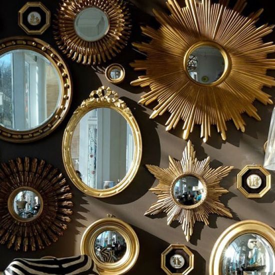 Love the round mirror gallery... up the stairwell?
