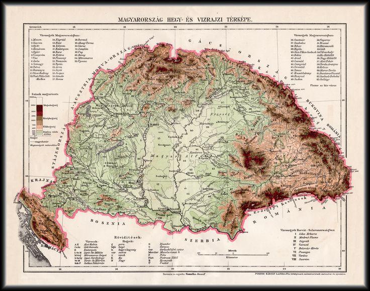 Magyarország hegy- és vízrajzi térképe 1896