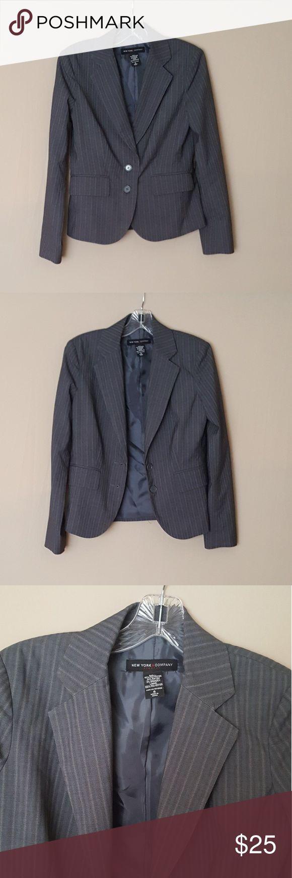 NY & Company Grey Pinstripe Suit Jacket, Blazer Size 4, 63% polyester, 34% rayon, 3% spandex.  Measurements:  Bust 19 inches across Waist 17 inches across 22.5 inches long. New York & Company Jackets & Coats Blazers