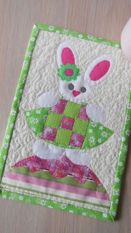 (7) Name: 'Quilting : Easter Bunny's Block Mug Rug