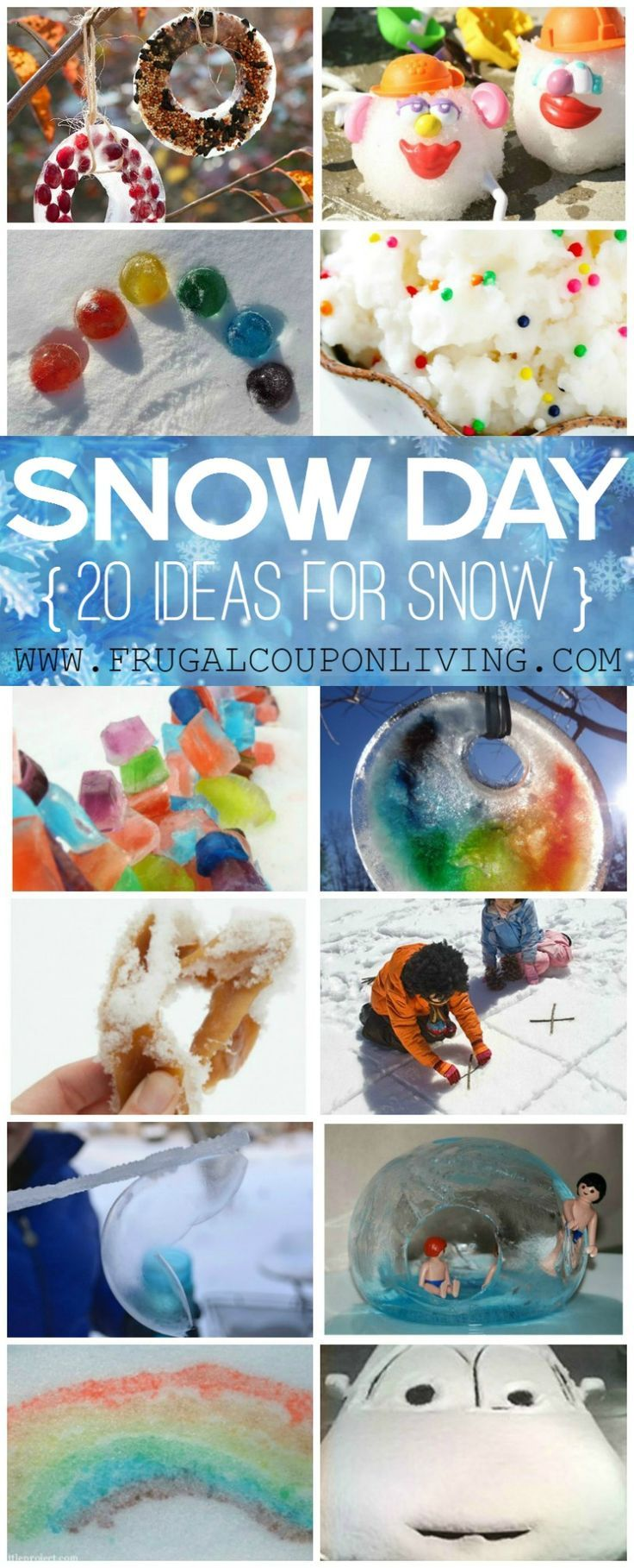 20 Ways to Enjoy the Snow in these Snow Day Ideas on Frugal Coupon Living. Kids Winter Activities. Kids Outdoor Activities.