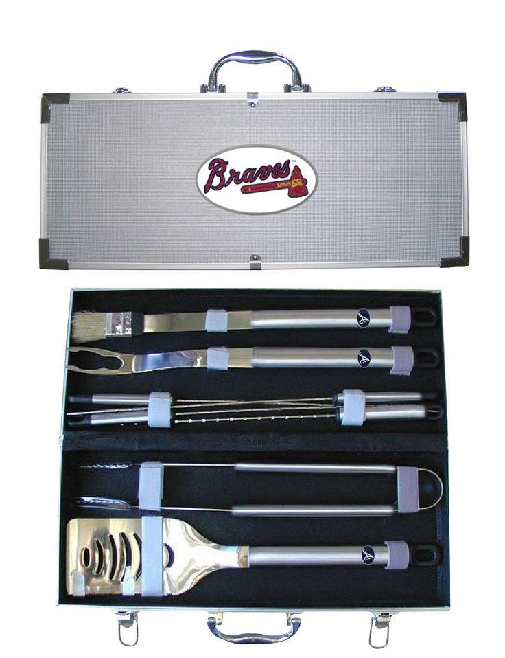 Atlanta Braves 8 pc Stainless Steel BBQ Set w/Metal Case