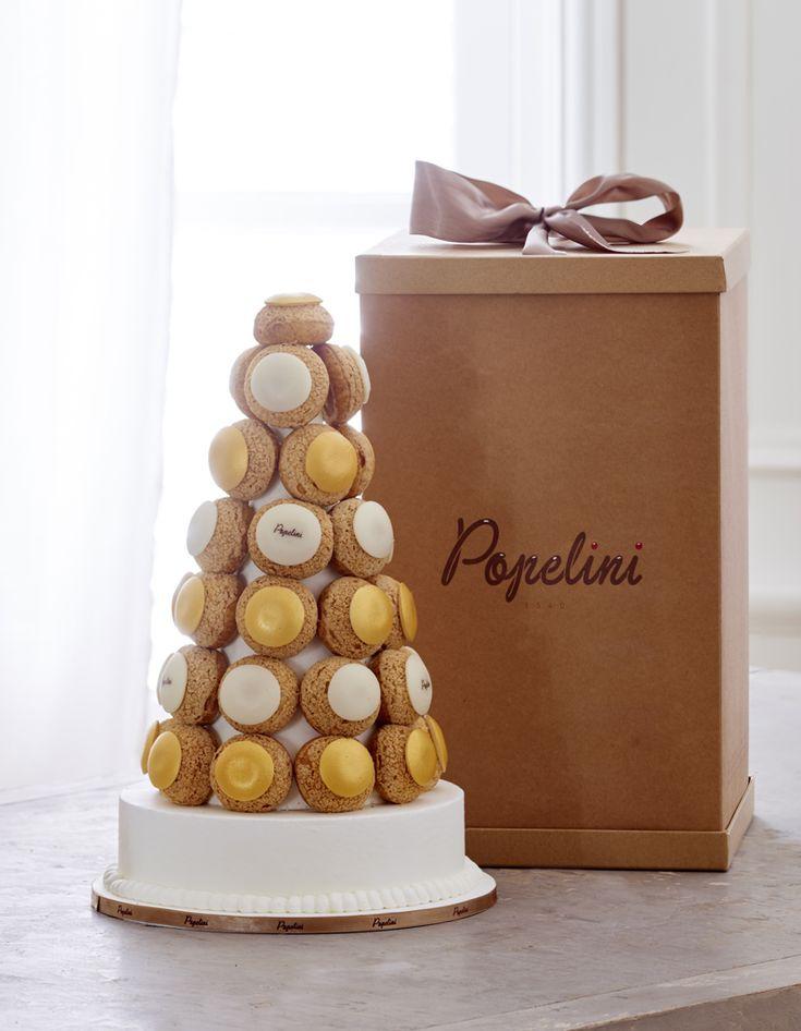 Pièce montée avec choux or et blancs (dans les tailles 45, 75 et 120 choux), jusqu'à 400 choux sur demande, Popelini....