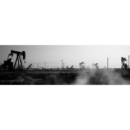 Oil drills in a field Maricopa Kern County California USA Canvas Art - Panoramic Images (36 x 12)
