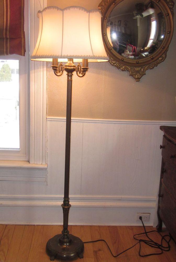 Antique Rembrandt Torchiere Candelabra Floor Lamp w Milk