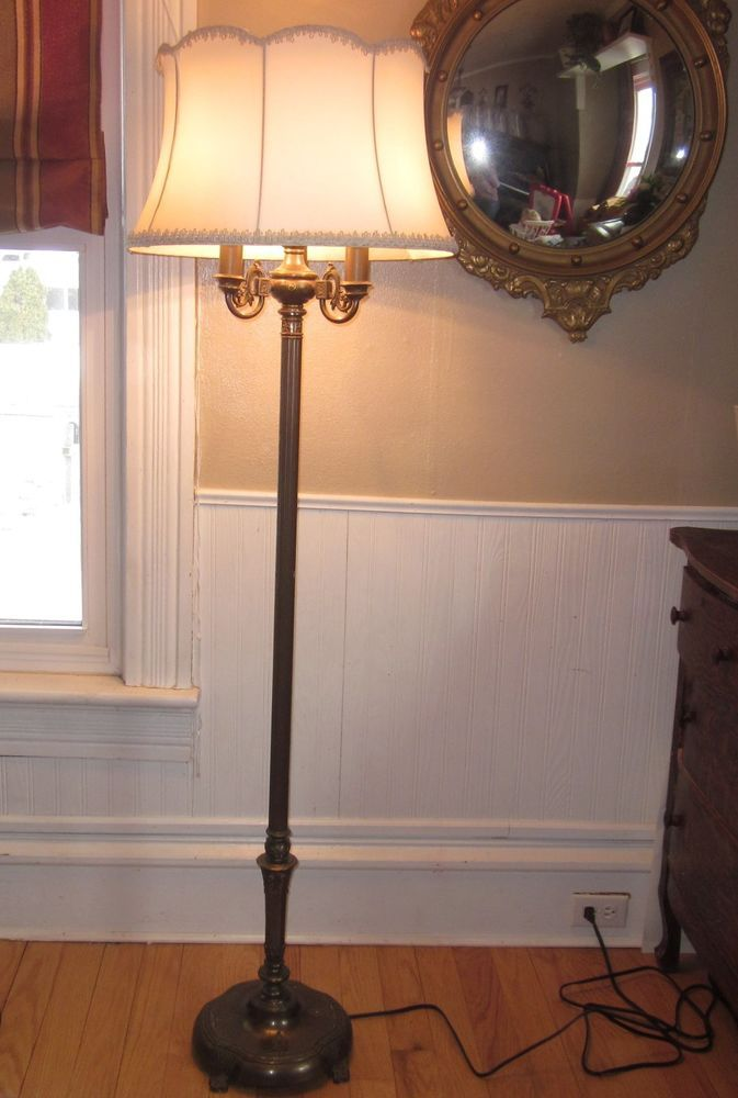 antique rembrandt torchiere candelabra floor lamp w milk glass. Black Bedroom Furniture Sets. Home Design Ideas