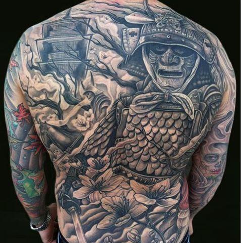 samurai symbol | Full Back Samurai Warrior Tattoo