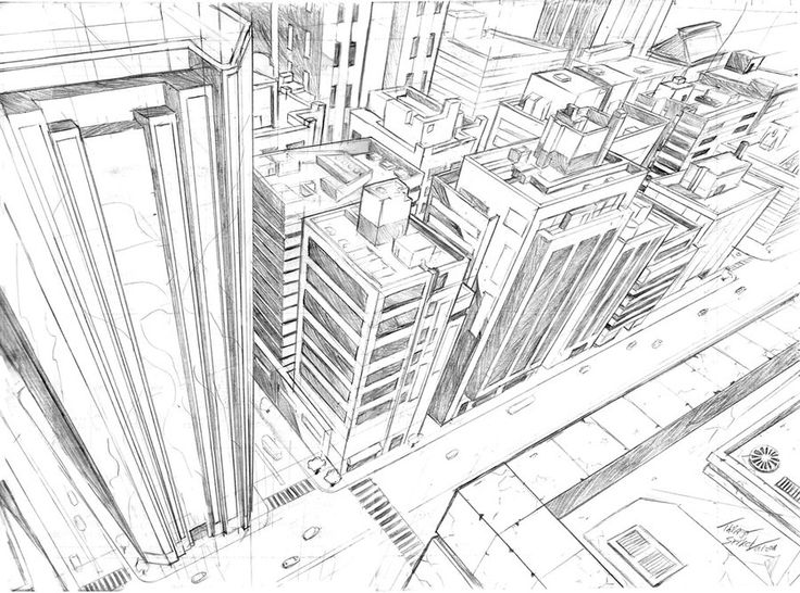 2-Point Perspective City Drawing | 3-Point Perspective Cityscape
