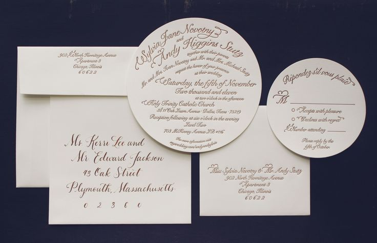 Letterpressed suite with calligraphed envelopes - Nelly Script Flourish font, circular invite and enclosure card