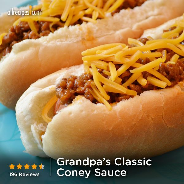 "Grandpa's Classic Coney Sauce | ""Ground beef is simmered in a tangy ..."