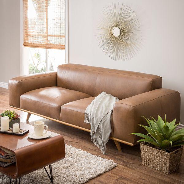 Dante Italian Oxford Tan Leather Sofa