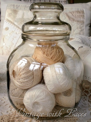 Vintage and LaceSewing Room, Candies Jars, Neutral Colors, Stores Thread, Yarns Ball, Crochet Thread, Glasses Jars, Colors Yarns, Jars Filling