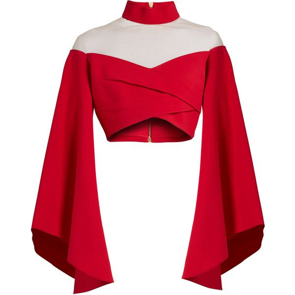 Balmain High-neck tulle-insert cropped top (3.975 BRL) ❤ liked on Polyvore featuring tops, crop tops, shirts, red, blouses, off-shoulder tops, high neck crop top, red off shoulder top, bell sleeve tops and red shirt
