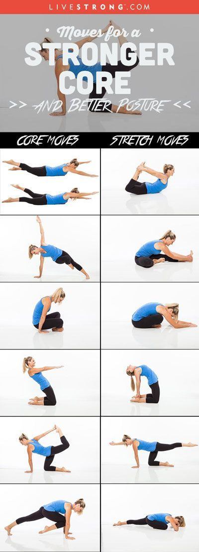 Try this routine up to 5 days a week for a stronger, more flexible body: http://www.livestrong.com/slideshow/1007999-moves-stronger-core-better-posture/