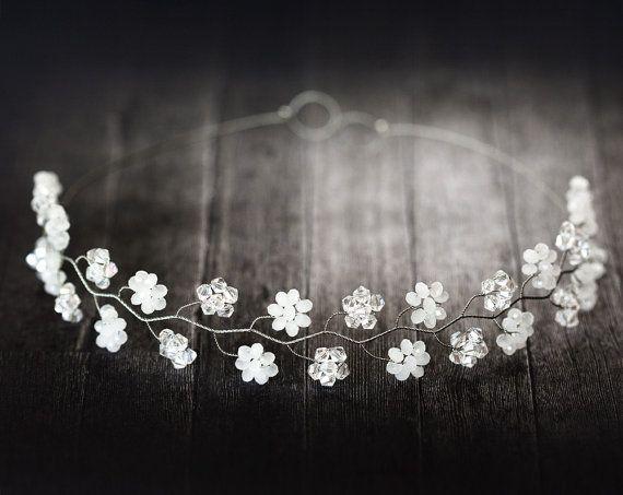 Crystal diadema de flores, Corona floral blanco, Diadema nupcial, Diademas bodas de plata, Corona hadas, Cristales nupcial corona, Diadema