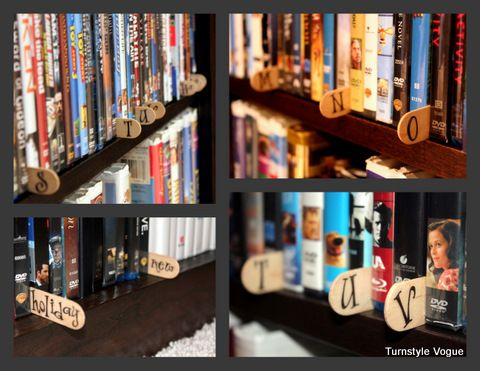 Use popsicle sticks and rub-on letters to organize your movie collection