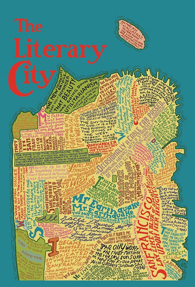 The Literary City: Jigsaw Puzzle, Cities, Maps, Sanfrancisco, Place, Francisco Literary, San Francisco, Literary Map, Literary City