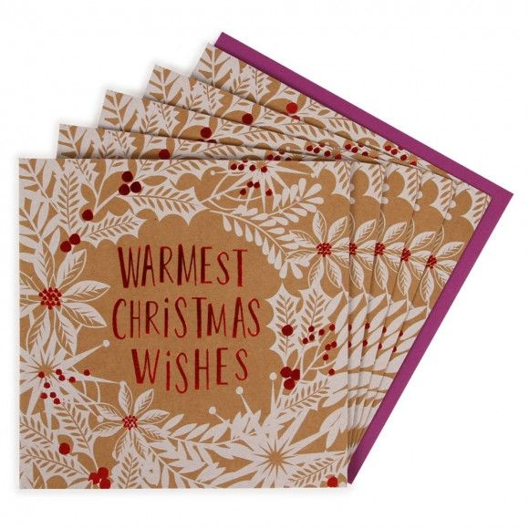Warmest wishes kraft charity Christmas cards - pack of 8