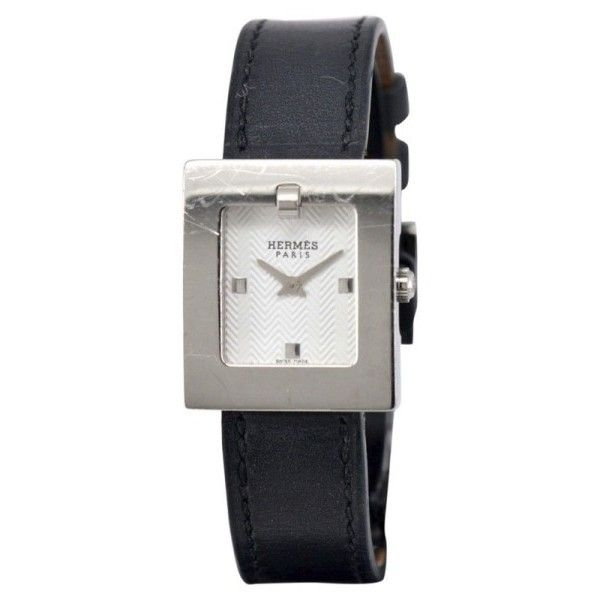 Pre-owned Hermes BE1.110 Stainless Steel White Dial Quartz 22mm Womens... ($385) ❤ liked on Polyvore featuring jewelry, watches, dial watches, pre owned watches, quartz watches, hermes watches and crown jewelry