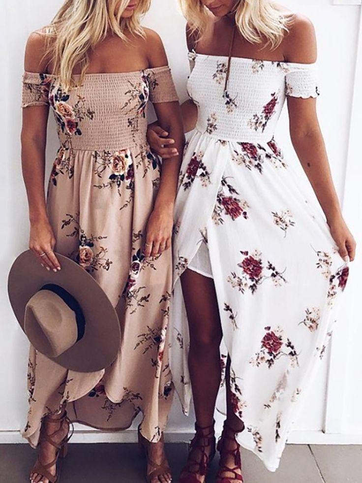 Trendy Off Shoulder Flower Print Slit Maxi Dress
