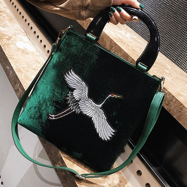 women tote bag vintage designer crane embroidery Handbags female velvet bag fashion winter shoulder bags brand top handle bags-in Underwear from Mother & Kids on Aliexpress.com | Alibaba Group