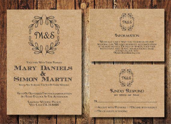 Superior Rustic Wedding Invitation Template Set, Kraft Paper Wreath Casual Wedding  Invite, Digital PDF, Personalised Simple Wedding Invitation