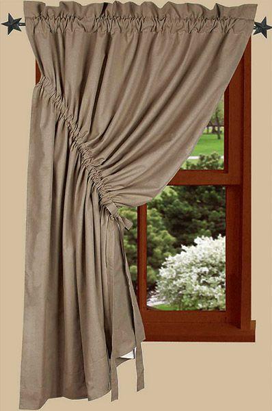 "Bradford Oat Gathered Curtain Panel Left 45"" x 60"