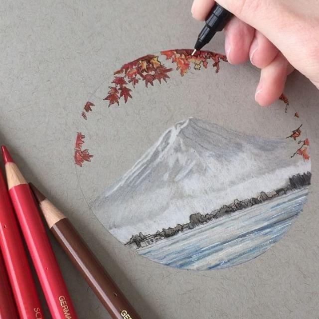 Mount Fuji in progress #art #drawing #pen #pencil…