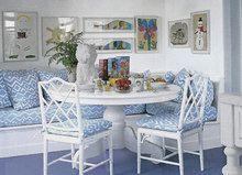 Fabric is Quadrille Alan Campbell Deauville Bali Blue on White (Interior Design Victoria Borus for Elle Decor June 2013)