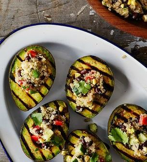 Grilled Avocado Halves with Cumin-Spiced Quinoa and Black Bean Salad recipe on Food52