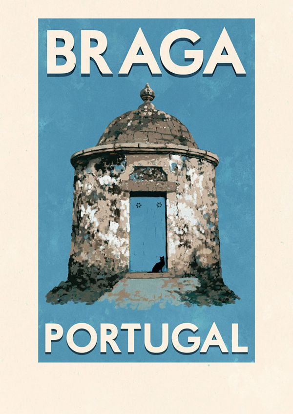 Portuguese travel posters by Rui Ricardo - via Creative Roots Blog - Art and design inspiration from around the world. | Check out these awesome Portuguese travel posters by local illustrator Rui Ricardo. His posters are vintage inspired and showcase some of Portugal's icons, such as the vintage Lisboa tram, the narrow buildings of Porto and the Arco da porta nova in Braga.
