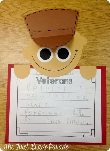 Veterans Day writing activity  peekover craft