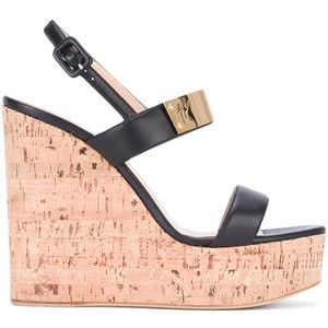 Giuseppe Zanotti Design - cork wedge sandals - women - Cork/Leather/Brass - 37.5